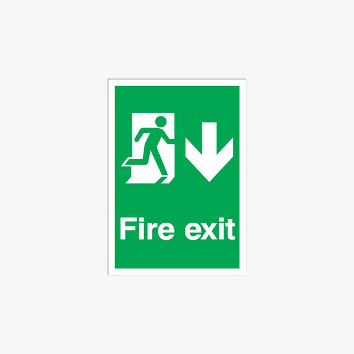 A1 Fire Exit Running Man Arrow Down Self Adhesive Plastic Signs