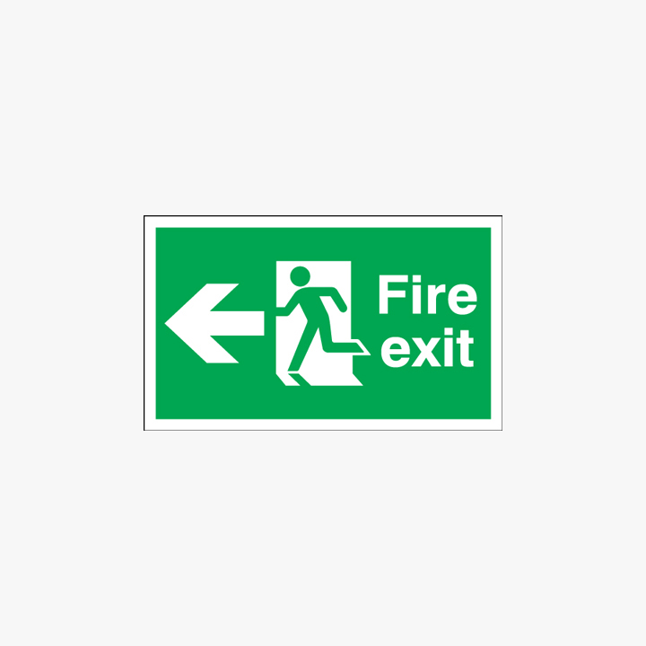 Fire Exit Running Man Arrow Left Self Adhesive Plastic 900x300mm Signs