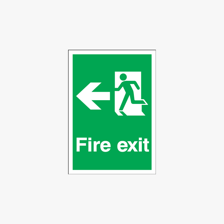 Fire Exit Running Man Arrow Left Self Adhesive Plastic A1 Signs