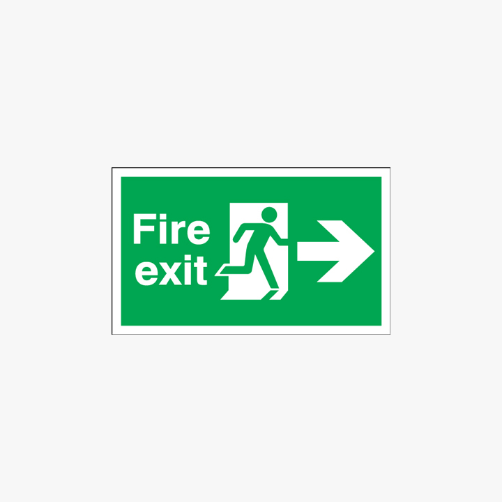 Fire Exit Running Man Arrow Right Self Adhesive Plastic 600x300mm Signs