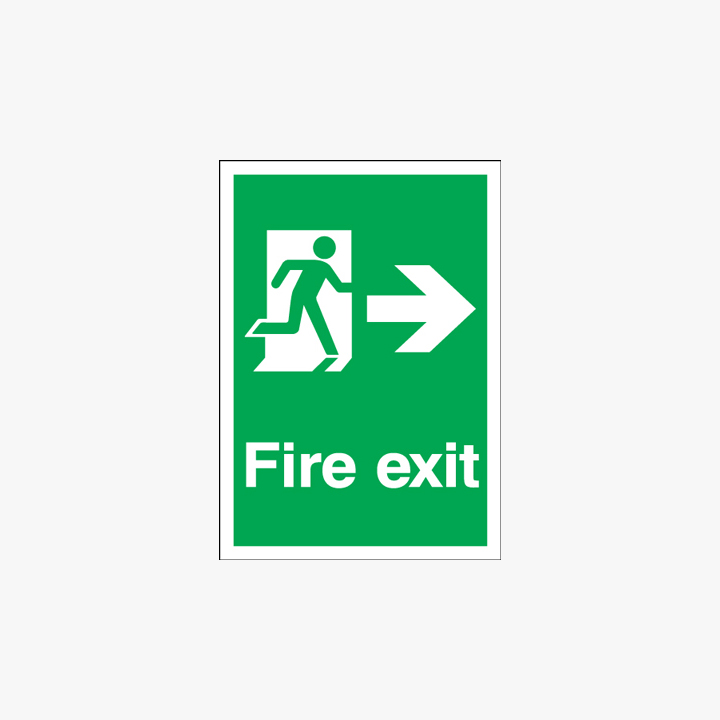 A1 Fire Exit Running Man Arrow Right Self Adhesive Plastic Signs