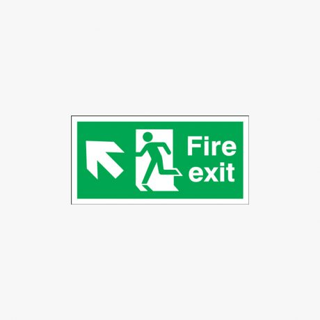 300x600mm Night Glow Luminescent Fire Exit Run Man Arrow Up Left Plastic Signs