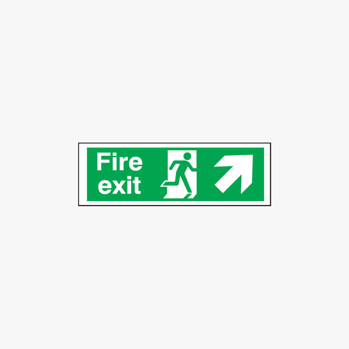 Fire Exit Running Man Arrow Up Right Plastic 600x300mm Signs