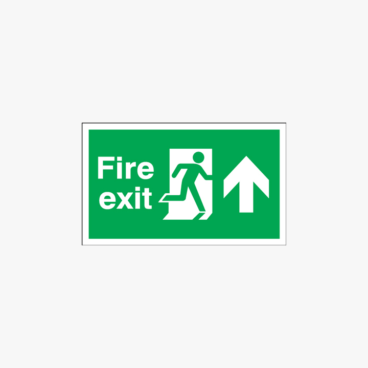 300x900mm Night Glow Luminescent Fire Exit Run Man Arrow Up Signs