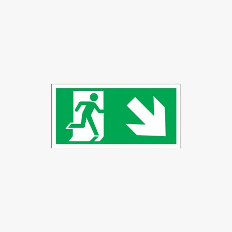 Fire Exit Running Man Down Right Signs