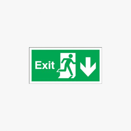 Exit Arrow Down Signs Night Glow 450x150mm