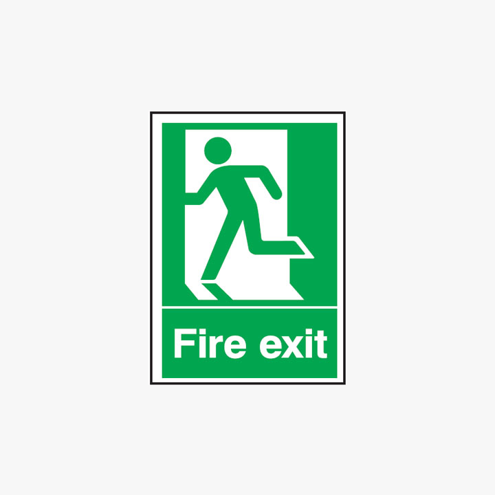 Fire Exit Running Man Left Self Adhesive Plastic A3 Signs