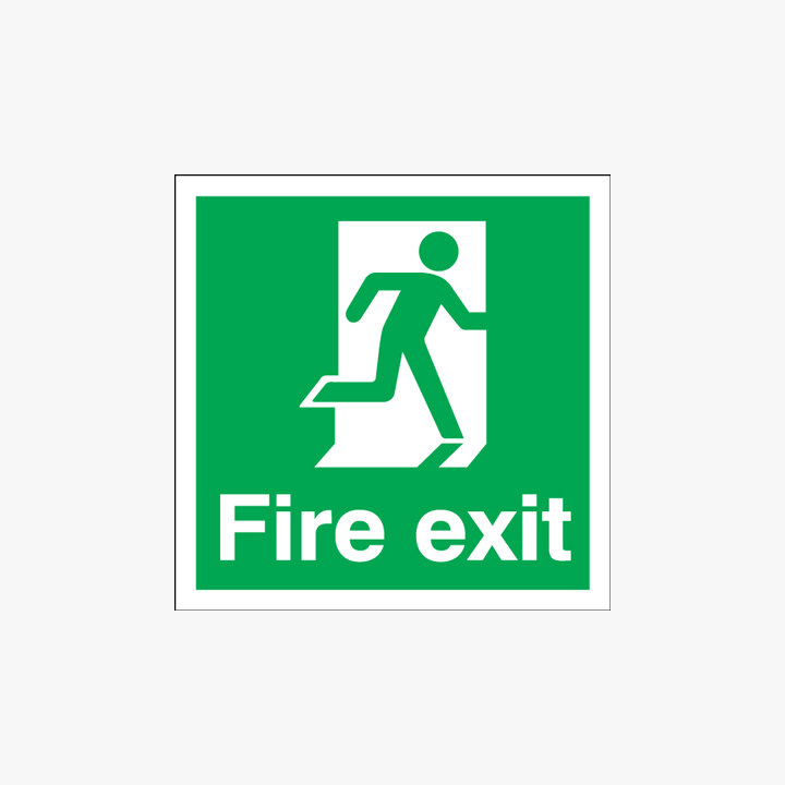 Fire Exit Running Man Right Self Adhesive Plastic 150x150mm Signs