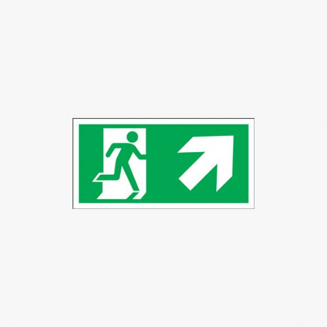Fire Exit Running Man Up Right Signs
