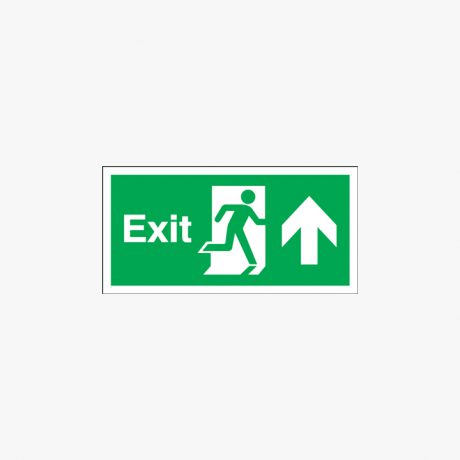 Exit Arrow Up Signs Night Glow Plastic 300x150mm