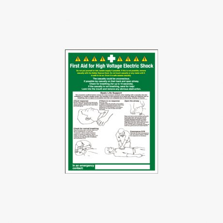 First Aid For High Voltage Signs Self Adhesive Plastic 300x400mm