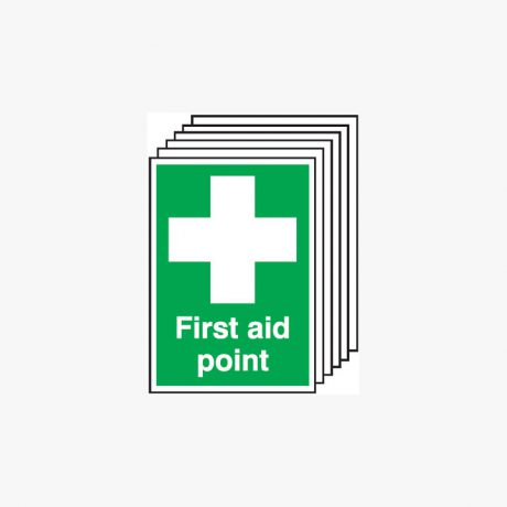 First Aid Point Multipack 6 Self Adhesive Plastic A4 Signs