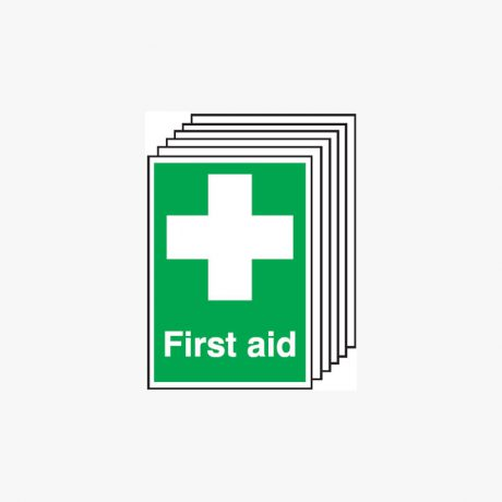 First Aid Signs Multipack 6 Self Adhesive Plastic A4 Signs