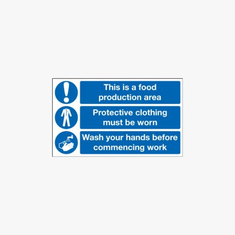 Food Production Area Protective Clothing Wash Hands Sign