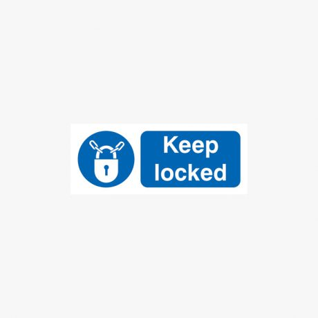 Keep Locked Sign Self Adhesive Plastic 250x100mm Signs
