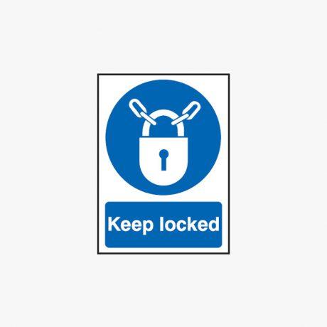 Keep Locked Sign Self Adhesive Plastic 75x100mm Signs