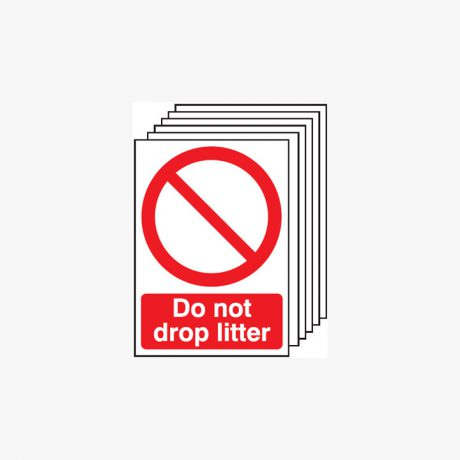 Self Adhesive Plastic A4 Do Not Drop Litter Signs