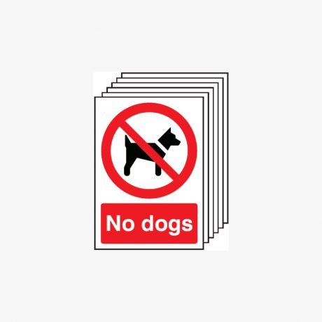 Multipack 6 Self Adhesive Plastic A4 No Dogs Signs