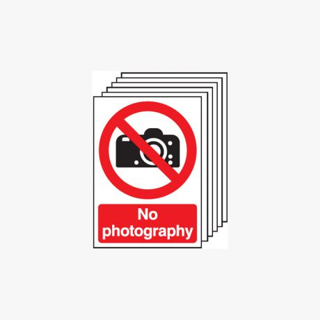 Multipack 6 Self Adhesive Plastic A4 No Photography Signs