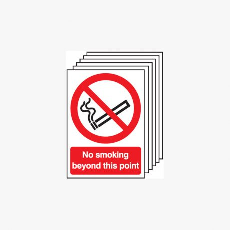 Multipack 6 Self Adhesive Plastic A4 No Smoking Beyond This Point Signs