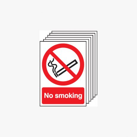 Multipack 6 Self Adhesive Plastic A4 No Smoking Signs
