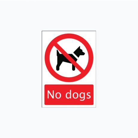 No Dogs Signs Self Adhesive A3