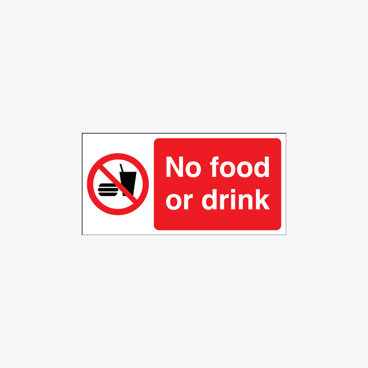 No Food Or Drink Plastic Signs 250 mm x 100 mm
