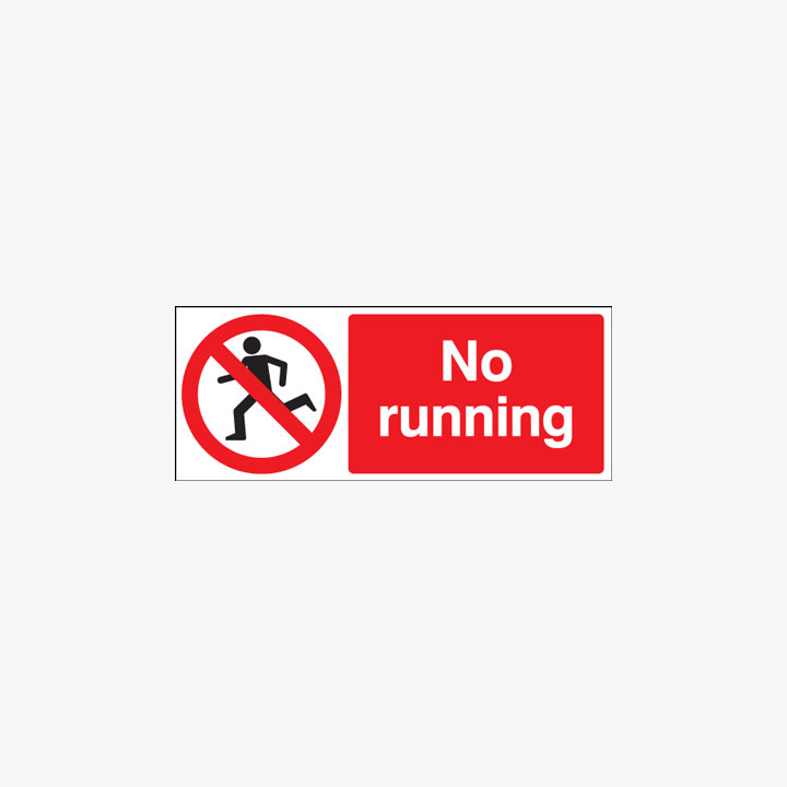 No Running Self Adhesive Signs 250 mm x 100 mm