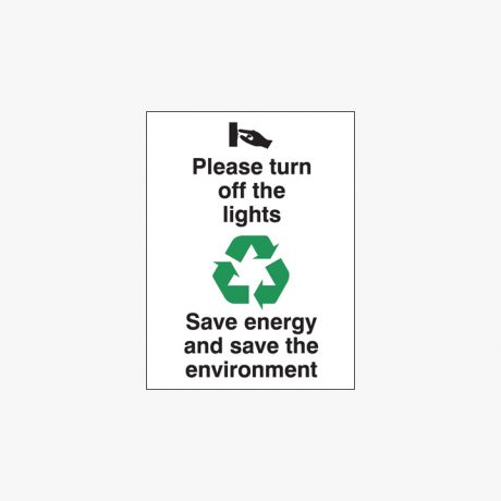 Plastic 200x150mm Please Turn Off The Lights Signs
