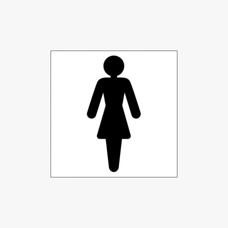 Plastic 150x150mm Ladies Toilet Symbol Signs
