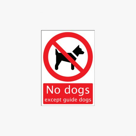 Self Adhesive Plastic A1 No Dogs Except Guide Dogs Signs
