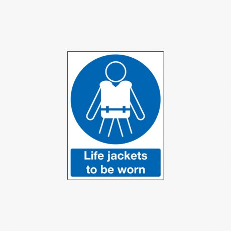 Plastic 250x200mm Life Jackets To Be Worn Signs