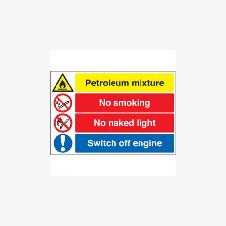 600x450mm Petroleum Mixture No Smoking Self Adhesive Plastic Signs