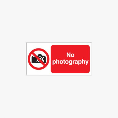 Self Adhesive Plastic 200x400mm No Photography Signs