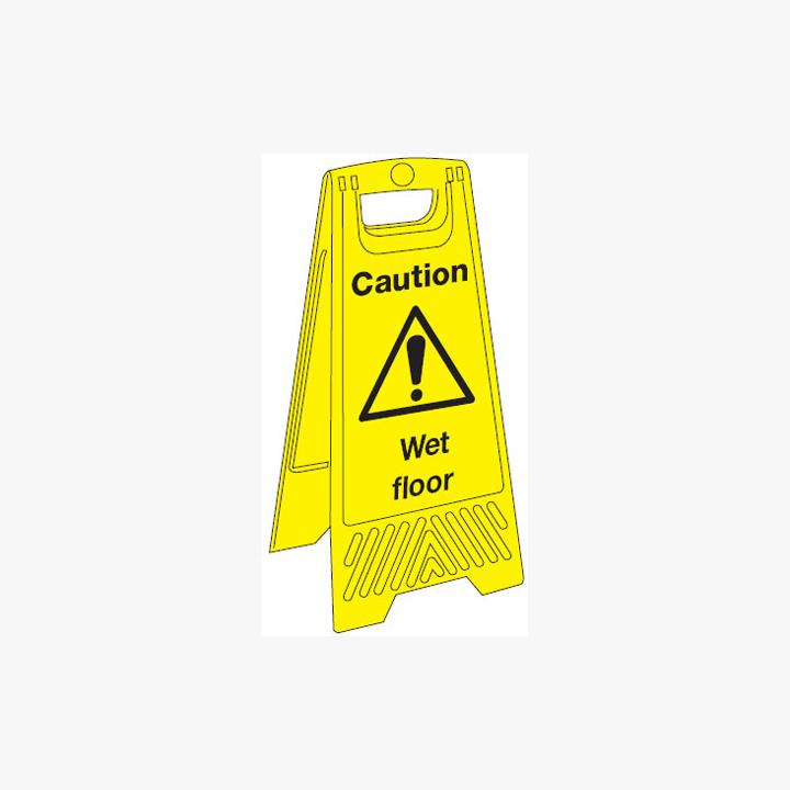 Plastic 680x300mm Caution Wet Floor Signs