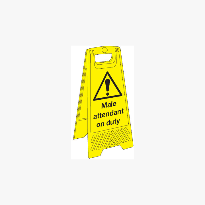 Plastic 680x300mm Male Attendant On Duty Signs