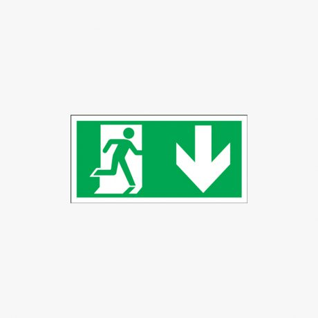 Running Man Arrow Down Symbol Self Adhesive 300x150mm Signs