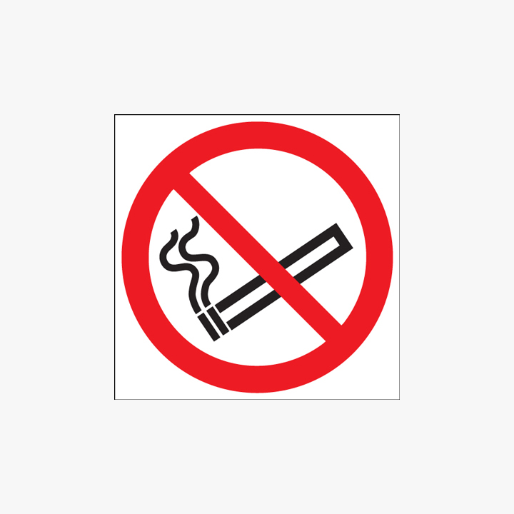 Self Adhesive Plastic 100mm Dia No Smoking (Symbol) Signs