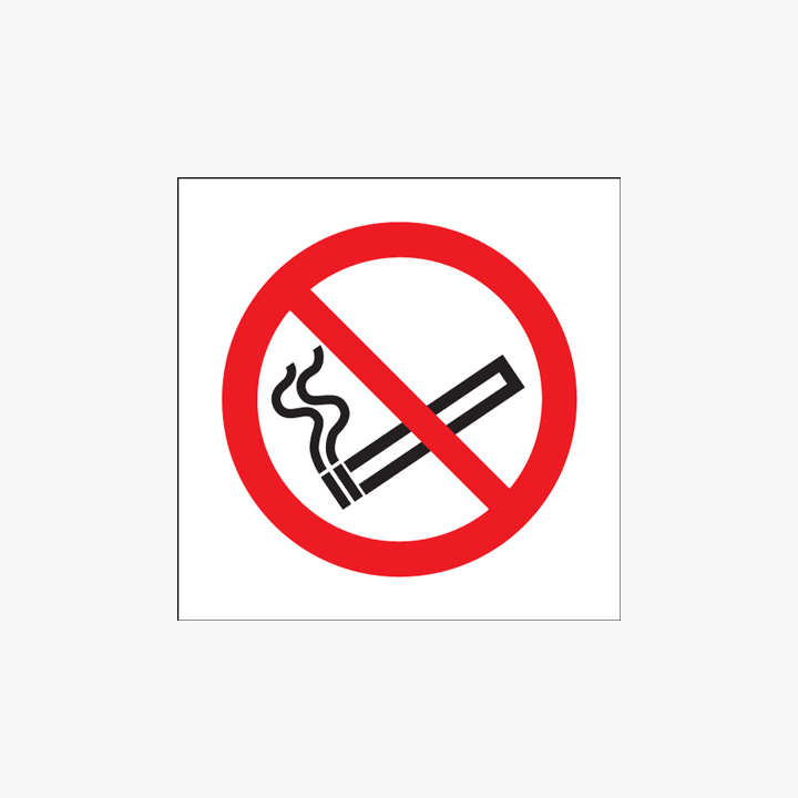 Self Adhesive Plastic 200x200mm No Smoking (Symbol) Signs