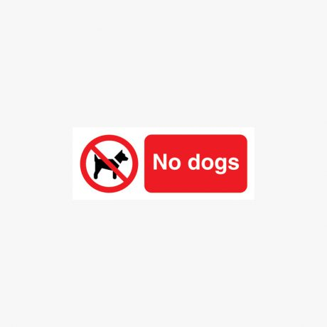 Self Adhesive 100x250mm No Dogs Signs