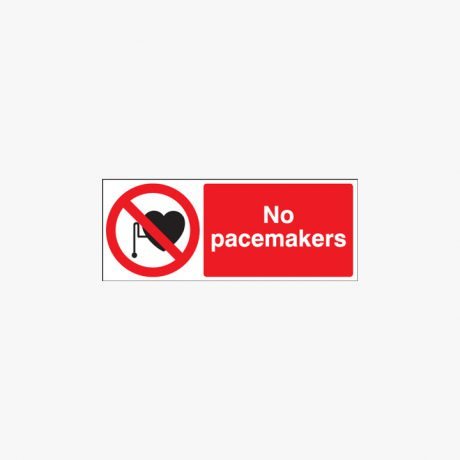 No Pacemakers Self Adhesive Plastic Signs 250 mm x 100 mm