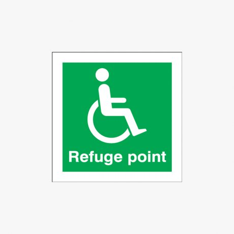 Self Adhesive Plastic 125x125mm Refuge Point Signs