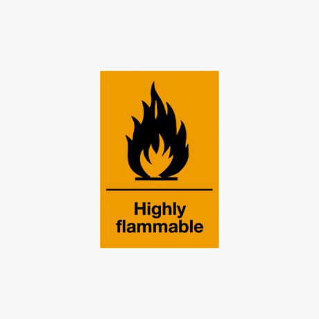 Self Adhesive 150x100mm Highly Flammable Signs
