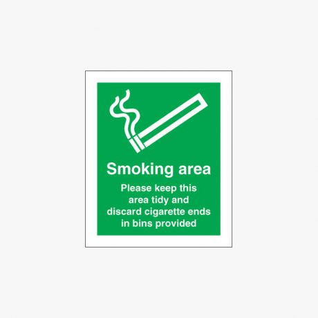 Self Adhesive Plastic 250x200mm Smoking Area Please Keep This Signs