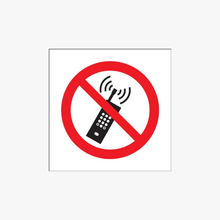 Self Adhesive Plastic 150x150mm No Mobile Phones Symbol No Text Signs