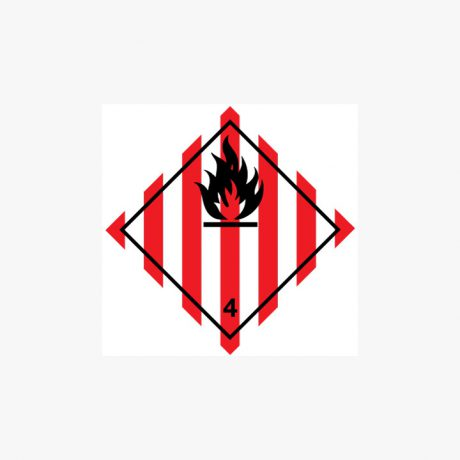 Self Adhesive 300x300mm Fire Symbol With Red Stripes Signs
