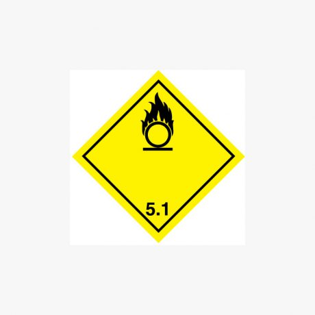 Self Adhesive 300x300mm Oxidizer 5.1 Hazard Warning Signs