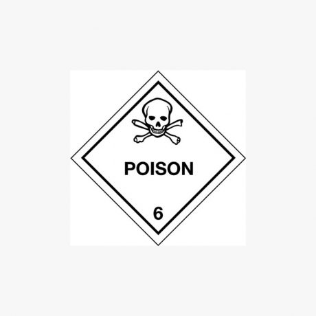 Self Adhesive 300x300mm Poison 6 Hazard Warning Diamond Signs