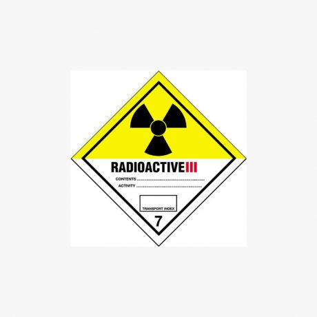 Self Adhesive 200x200mm Radioactive Iii 7 Signs