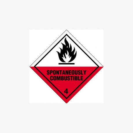 Self Adhesive 200x200mm Spontaniously Combustible 4 Signs